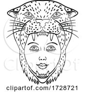 Amazon Warrior Wearing A Jaguar Headdress Tattoo Style Black And White
