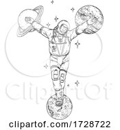 Astronaut Wearing Spacesuit Crucified On Planet Saturn Jupiter And Moon Line Art Drawing
