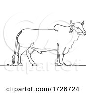 Brahman Bull Standing Side View Continuous Line Drawing Black And White Illustration