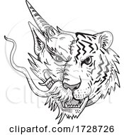 Head Of A Half Chinese Dragon Half Bengal Tiger Front View Drawing