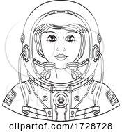 Female Astronaut Head Frnt DWG BW CUT by patrimonio