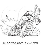 Motorcycle Driver With Fireball Head Driving Motorbike Flat Track Racing Line Art Drawing Black And White