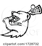 Mongoose With Lacrosse Stock Mascot Black And White