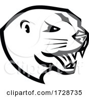 Head Of Angry North American River Otter Or The Northern River Otter Mascot Retro Black And White