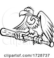 Californian Condor Clutching Perching On A Baseball Bat Mascot Black And White