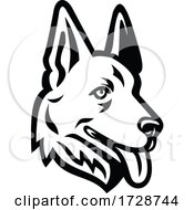 Head Of A German Shepherd Or Alsatian Wolf Dog Mascot Retro Black And White