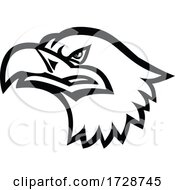 Head Of A Eurasian Sea Eagle Or Gray Sea Eagle Side View Mascot Black And White