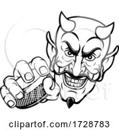 Devil Satan Ice Hockey Sports Mascot Cartoon by AtStockIllustration