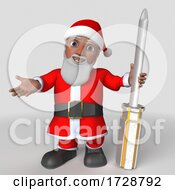 Poster, Art Print Of 3d Hispanic Santa Claus On A Shaded Background