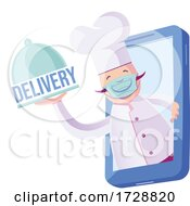 Chef With Mask Coming Out Of His Cellphone With Plate That Says Delivery by Domenico Condello