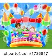 Poster, Art Print Of Bouncy House Castle Jumping Girl Boy Kids Cartoon
