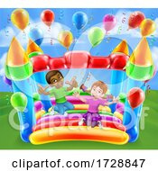 Bouncy House Castle Jumping Girl Boy Kids Cartoon by AtStockIllustration
