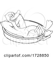 Black And White Lucky Plucked Duck Kicking Back In A Pan by Hit Toon