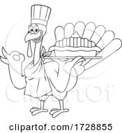 Black And White Turkey Bird Chef Holding A Pie