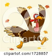 Crazy Running Turkey Bird With Leaves