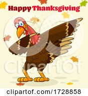Poster, Art Print Of Turkey Bird Dabbing With Happy Thanksgiving Text