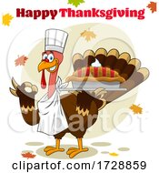 Turkey Bird Chef Holding A Pie With Happy Thanksgiving Text