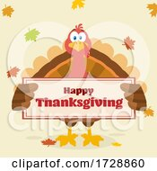 Poster, Art Print Of Turkey Bird Holding A Happy Thanksgiving Sign With Leaves