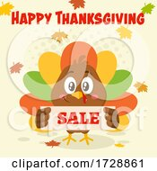 Turkey Bird With A Happy Thanksgiving Greeting And Sale Sign