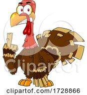Mad Turkey Bird Holding Up A Middle Finger by Hit Toon