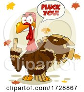 Mad Turkey Bird Holding Up A Middle Finger And Saying Pluck You by Hit Toon