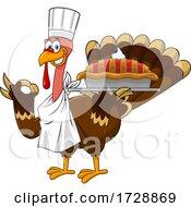 Poster, Art Print Of Turkey Bird Chef Holding A Pie
