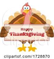 Poster, Art Print Of Turkey Bird Holding A Happy Thanksgiving Sign