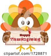 Poster, Art Print Of Turkey Bird With A Happy Thanksgiving Sign