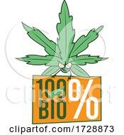 11/08/2020 - Cannabis Marijuana Pot Leaf Mascot Over A Bio Sign