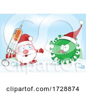 Santa Claus Facing Corona Virus With A Vaccine