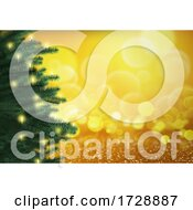 Poster, Art Print Of 3d Christmas Tree On A Bokeh Lights Background