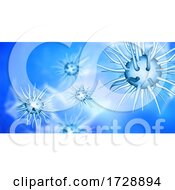 3D Medical Banner Design With Abstract Virus Cells