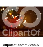 Poster, Art Print Of 3d Wooden Table Looking Out To A Defocussed Christmas Tree