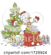 Christmas Snowman Santa By A Tree