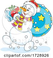 Christmas Snowman Santa Carrying A Sack