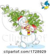 Christmas Snowman Carrying A Tree