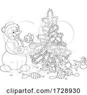 Christmas Snowman Decorating A Tree