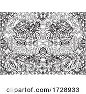 Black And White Crazy Creature Pattern