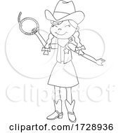 Black and White Cowgirl Holding a Rope by peachidesigns #COLLC1728936-0137