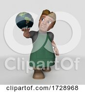 Poster, Art Print Of 3d Shop Keeper Man On A Shaded Background