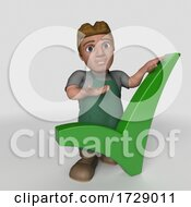 3d Shop Keeper Man On A Shaded Background
