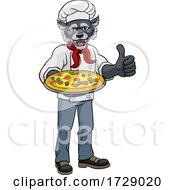 Wolf Pizza Chef Cartoon Restaurant Mascot