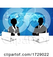 News Anchor Silhouette TV Reporter Presenters by AtStockIllustration