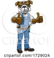 Bulldog Mascot Plumber Mechanic Handyman Worker