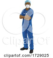 Doctor Or Nurse In Scrubs Uniform And Medical PPE