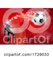 Poster, Art Print Of Soccer Silhouette Abstract Football Red Background