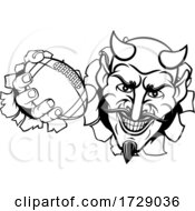 Poster, Art Print Of Devil American Football Sports Mascot Cartoon