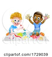 Poster, Art Print Of Cartoon Children Painting