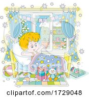 Poster, Art Print Of Boy Waking Up And Seeing Santas Gift On Christmas Day