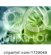 3D Medical Background With DNA Strand And Virus Cells Covid 19 Pandemic